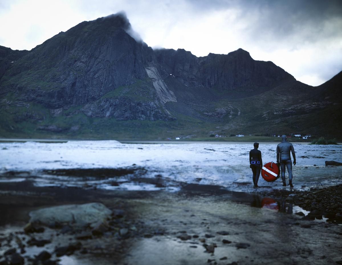 Deep fiord. Lofoten, Norway.